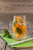 image of cantaloupe  - Closeup of refreshing cantaloupe melons cocktail - JPG