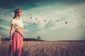 picture of hippy  - Beautiful hippie girl in a field - JPG