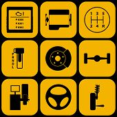 picture of gear-shifter  - Set of automotive icons for car service - JPG