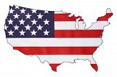 picture of usa map  - USA Stars and Stripes flag within outline of USA map on white background for holiday and event concept - JPG