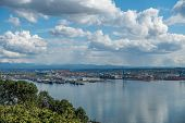 picture of puffy  - View of the Port Of Tacoma on a sunny day - JPG