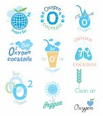 image of oxygen  - Vector set oxygen and oxygen cocktail logo - JPG
