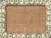 picture of sack dollar  - Frame from American dollars on the background of sacking - JPG