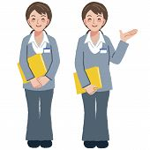 picture of geriatric  - Portraits of geriatric care manager full length in different gesture - JPG