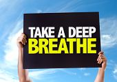 picture of breath taking  - Take a Deep Breathe card with sky background - JPG