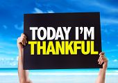 picture of give thanks  - Today Im Thankful card with beach background - JPG