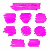 stock photo of marker pen  - Neon pink marker pen spots and lines isolated on a white background for your design - JPG