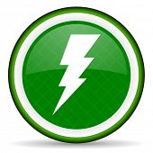 stock photo of bolt  - bolt green icon flash sign