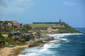 picture of san juan puerto rico  - San Juan Castillo San Felipe del Morro El Morro and Old San Juan skyline by the sea - JPG