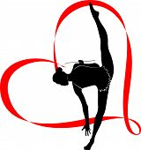 stock photo of gymnastic  - girl athlete gymnast with a ribbon in the form of heart vector - JPG