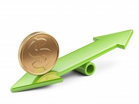 picture of seesaw  - Money concept gold coin on arrow scale balance seesaw - JPG