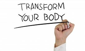 picture of transformation  - Motivational concept image of a hand holding marker and write Transform Your Body isolated on white - JPG