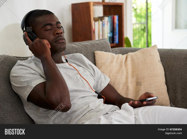 African Black Man Listening Music Image & Photo | Bigstock