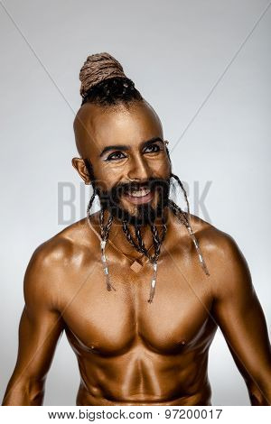 Face Powerful Gold Arab Warrior.