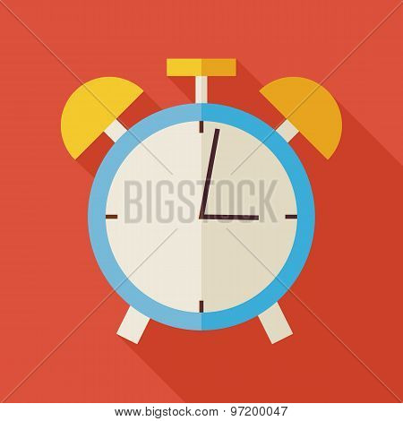 Flat Alarm Clock Illustration With Long Shadow