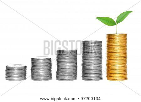 Columns Of Gold And Silver Coins Isolated On White Background