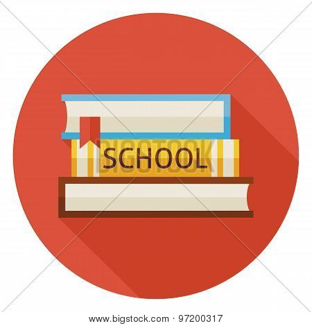 Flat Back To School Books With Bookmark Circle Icon With Long Shadow