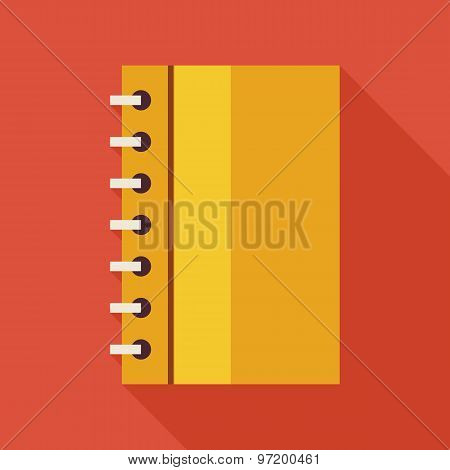 Flat Business Office Notebook With Spiral Illustration With Long Shadow