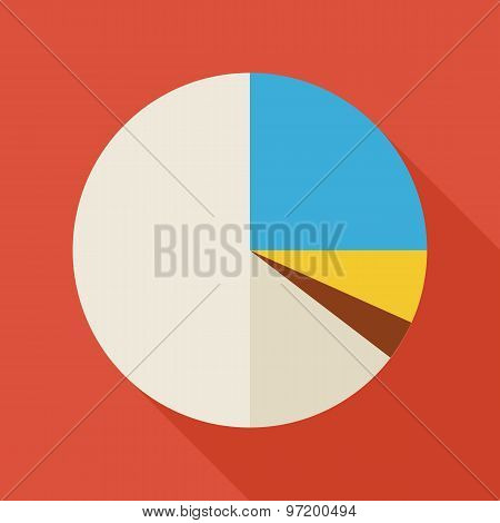 Flat Business Office Statistic Pie Graph Illustration With Long Shadow
