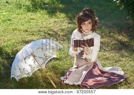 Thinking Girl With Book