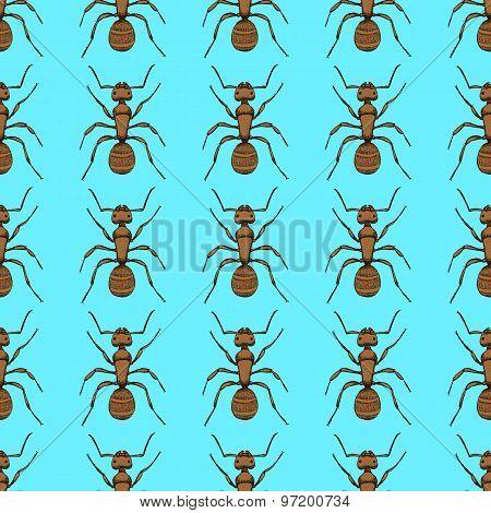 Sketch Cute Ant In Vintage Style