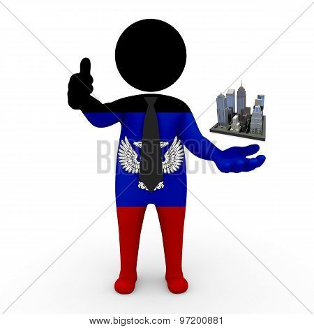 3d businessman people Donetsk People's Republic - Megalopolis and cities