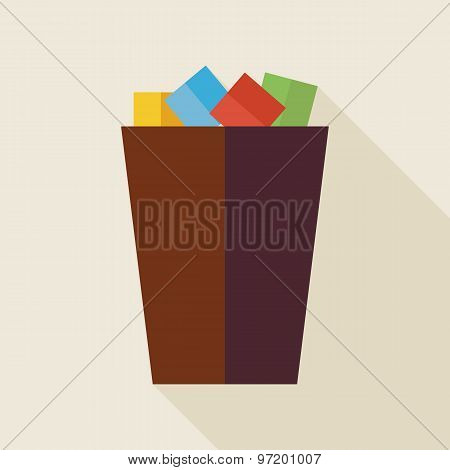 Flat Business Office Trash Bucket Illustration With Long Shadow