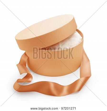 Gift Box Round Shape With Open Cap And Long Handle Tape In Salmon Color