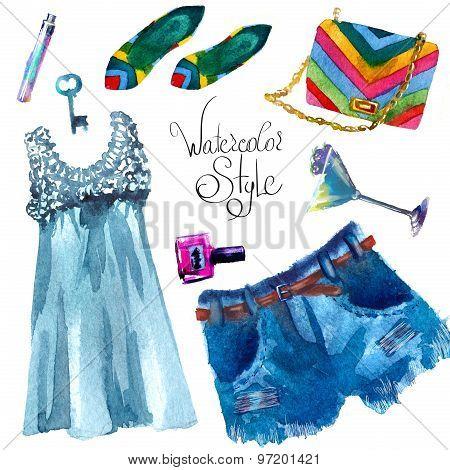 set of trendy look, watercolor