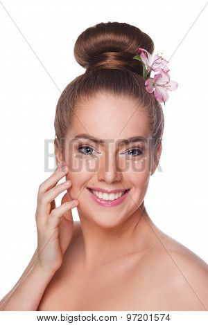 Beautiful Woman With Concealer Dots Under Eyes