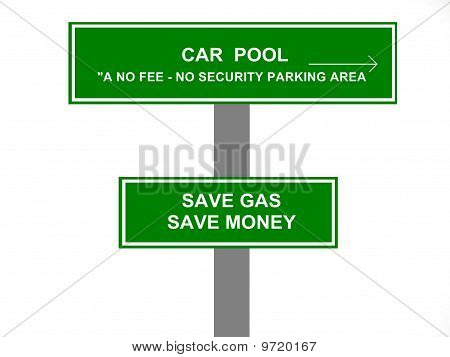 Car Pool Parking Area Sign