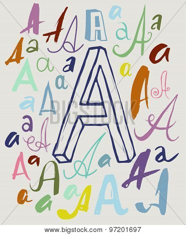 Letter A in different styles