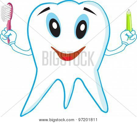 Funny Tooth With A Toothbrush And Toothpaste