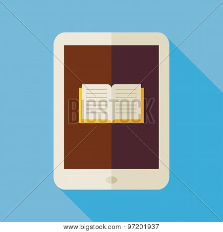 Flat Electronic Book Illustration With Long Shadow
