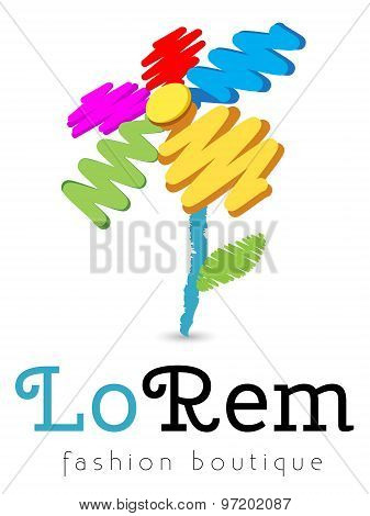 Logo template, vector, stylized colored flower, childlike drawing, good for boutique, shop, charity