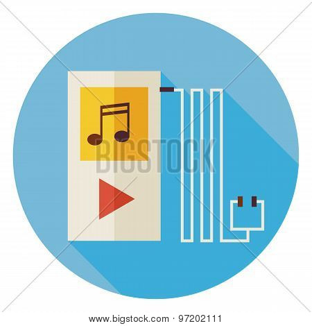 Flat Electronic Technology Music Player Circle Icon With Long Shadow