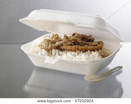 take away lunch box with rice