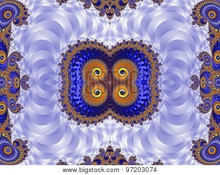 Beautiful Background With Spiral Pattern. Blue And Silver Palette. Artwork For Creative Design