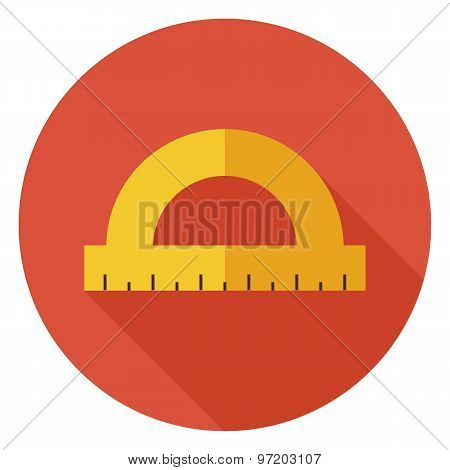 Flat Office Measure Instrument Protractor Circle Icon With Long Shadow