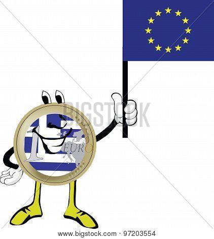 Greek euro coin with the European