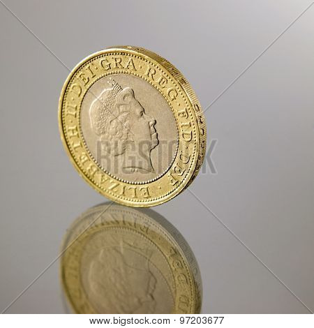 two british pounds coin isolated on white background