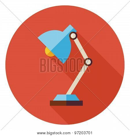 Flat Office Workplace Desk Lamp Circle Icon With Long Shadow