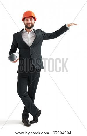 businessman in formal wear and orange helmet raised hand like holding a banner. isolated on white background
