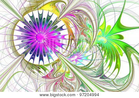 Flower Background. Purple And Green Palette. Fractal Design. Computer Graphics.