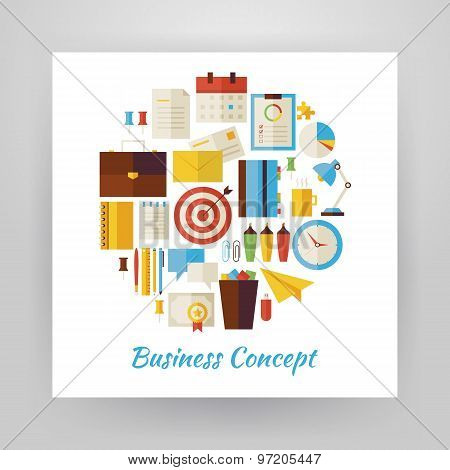 Flat Style Circle Vector Set Of Business Workplace And Office Life Objects Over White Paper
