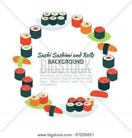 Flat Style Vector Circle Template Collection Of Food Sushi Sashimi And Rolls Objects Over White