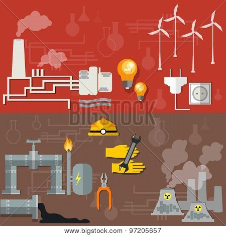 World Oil Production  Nuclear Plants Fuel Fabrication Nuclear Power Energy Electricity vector banner