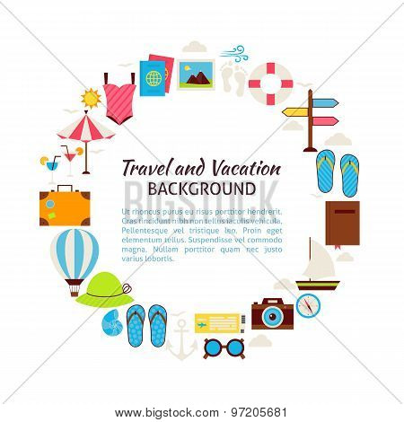 Flat Style Vector Circle Template Collection Of Summer Vacation And Travel Objects Over White