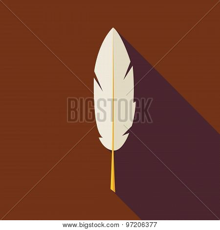 Flat Writing Feather Illustration With Long Shadow