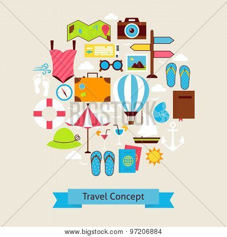Vector Flat Style Summer Vacation And Travel Objects Concept